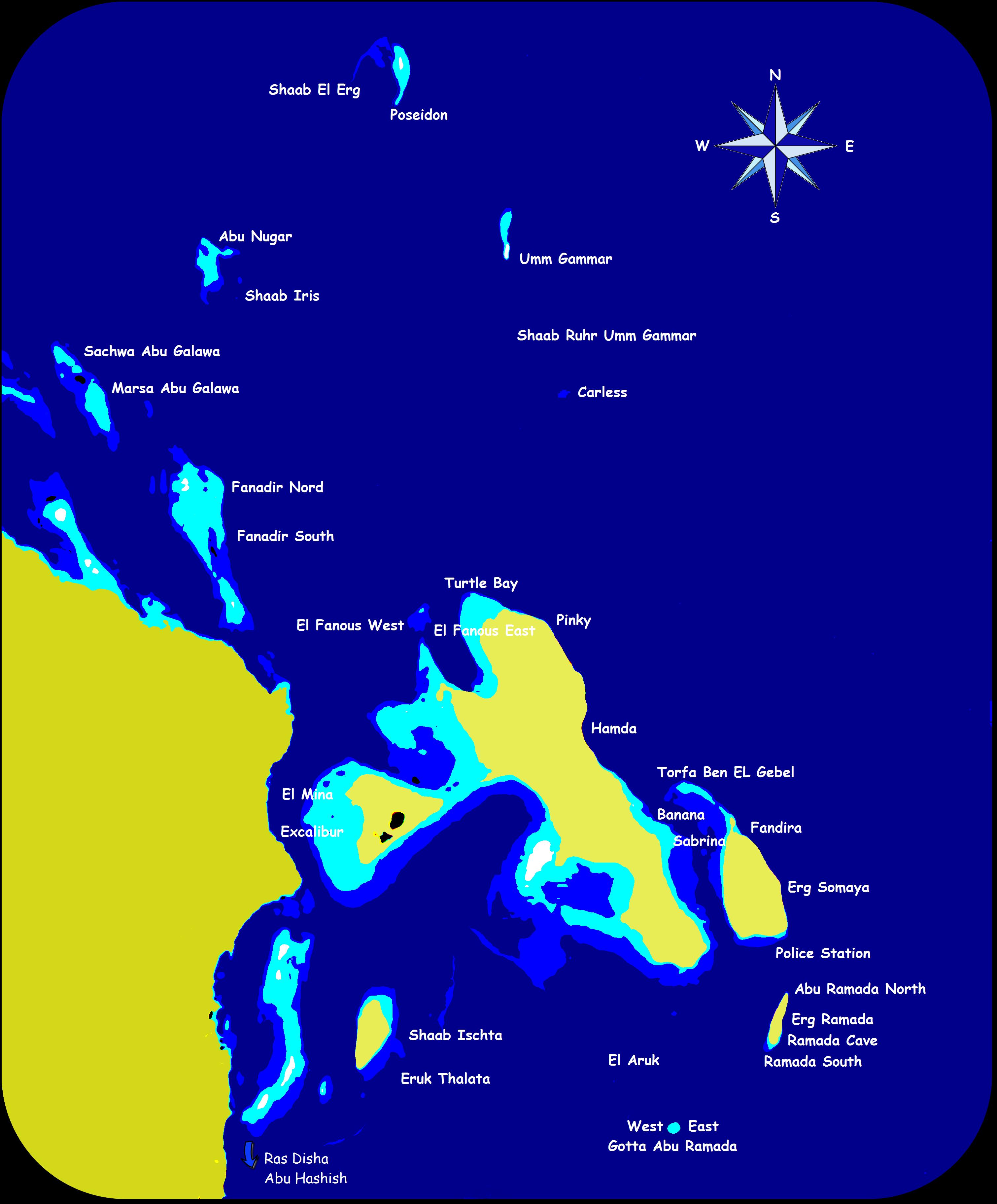 Tauchplatz Karte Hurghada